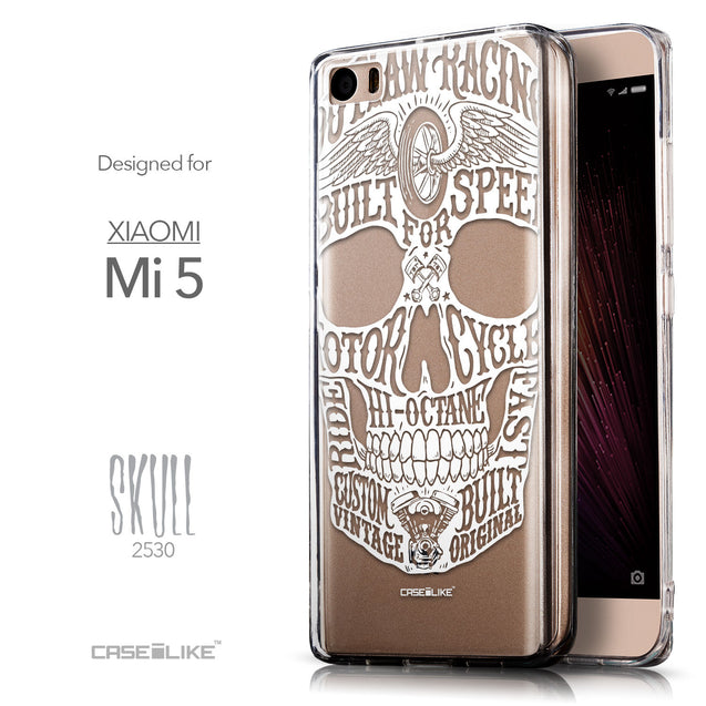 Front & Side View - CASEiLIKE Xiaomi Mi 5 back cover Art of Skull 2530