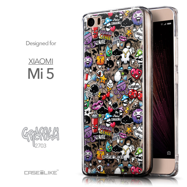 Front & Side View - CASEiLIKE Xiaomi Mi 5 back cover Graffiti 2703