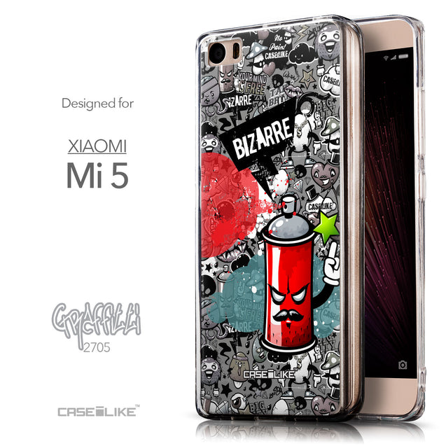 Front & Side View - CASEiLIKE Xiaomi Mi 5 back cover Graffiti 2705
