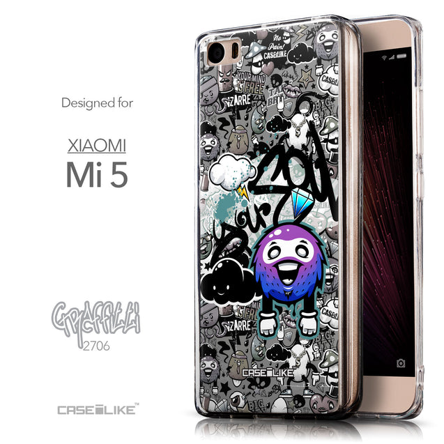 Front & Side View - CASEiLIKE Xiaomi Mi 5 back cover Graffiti 2706