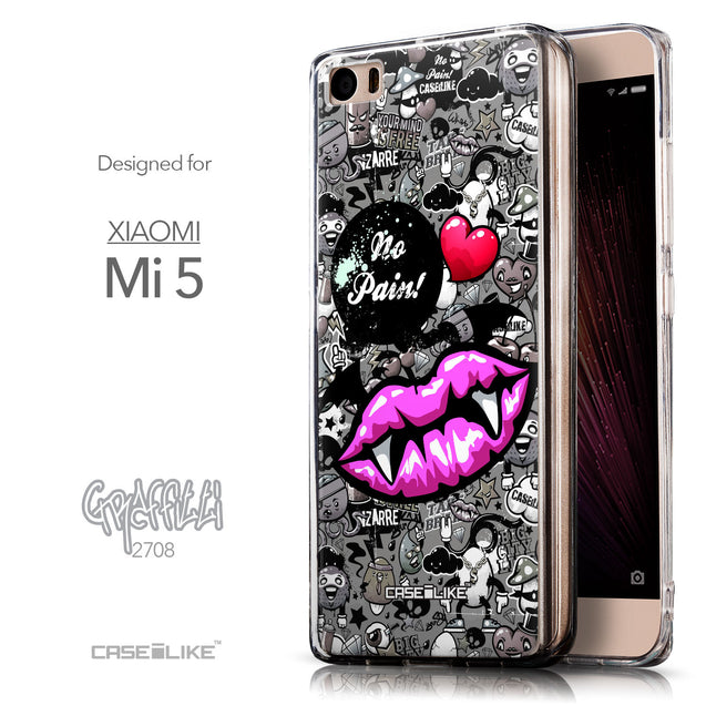 Front & Side View - CASEiLIKE Xiaomi Mi 5 back cover Graffiti 2708