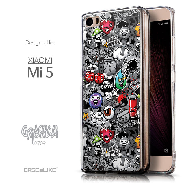Front & Side View - CASEiLIKE Xiaomi Mi 5 back cover Graffiti 2709