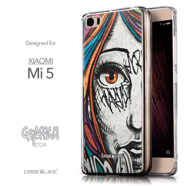 Front & Side View - CASEiLIKE Xiaomi Mi 5 back cover Graffiti Girl 2724
