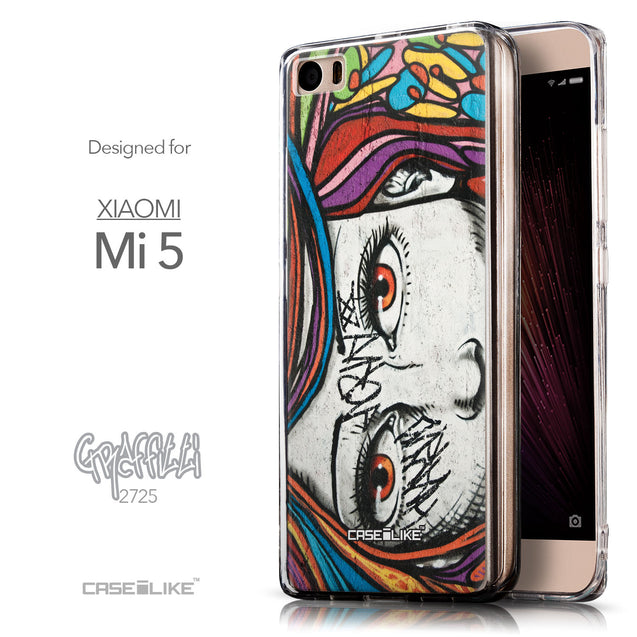 Front & Side View - CASEiLIKE Xiaomi Mi 5 back cover Graffiti Girl 2725