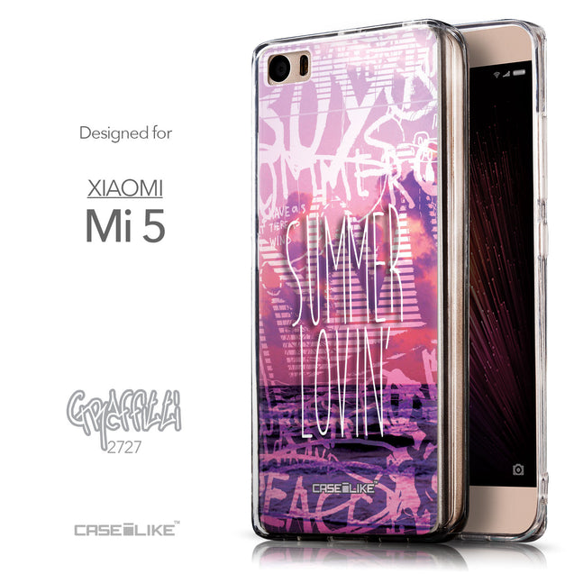 Front & Side View - CASEiLIKE Xiaomi Mi 5 back cover Graffiti 2727