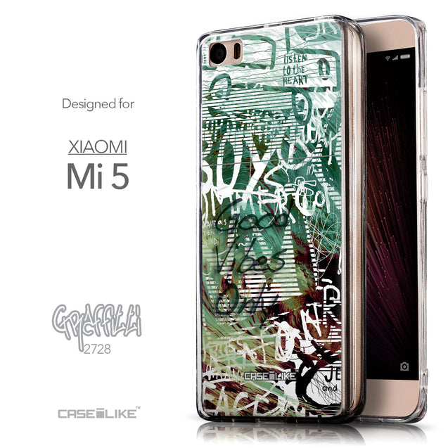 Front & Side View - CASEiLIKE Xiaomi Mi 5 back cover Graffiti 2728