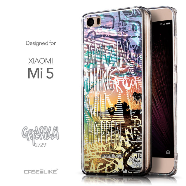 Front & Side View - CASEiLIKE Xiaomi Mi 5 back cover Graffiti 2729