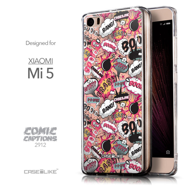 Front & Side View - CASEiLIKE Xiaomi Mi 5 back cover Comic Captions Pink 2912