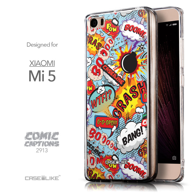 Front & Side View - CASEiLIKE Xiaomi Mi 5 back cover Comic Captions Blue 2913