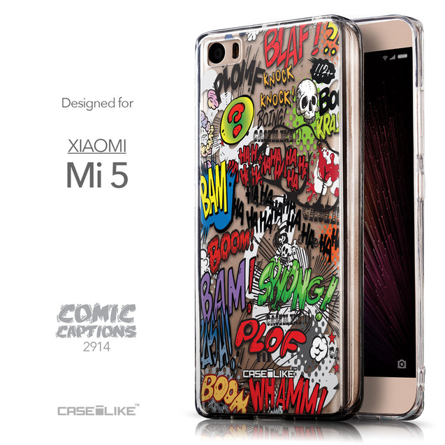 Front & Side View - CASEiLIKE Xiaomi Mi 5 back cover Comic Captions 2914