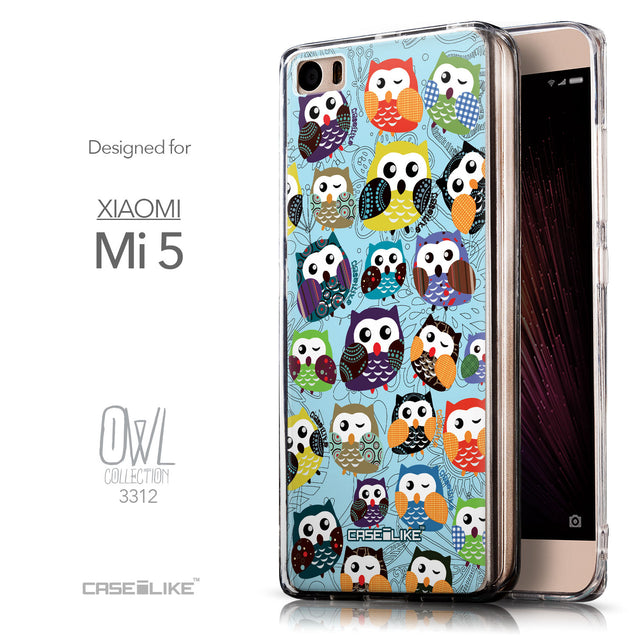 Front & Side View - CASEiLIKE Xiaomi Mi 5 back cover Owl Graphic Design 3312