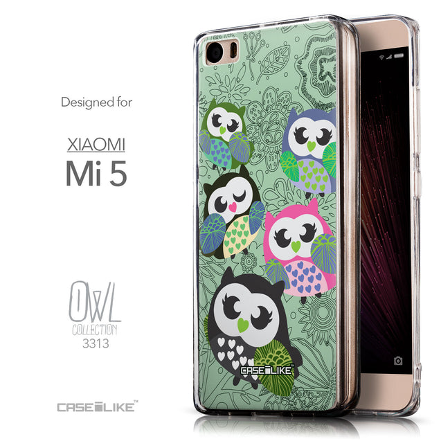 Front & Side View - CASEiLIKE Xiaomi Mi 5 back cover Owl Graphic Design 3313