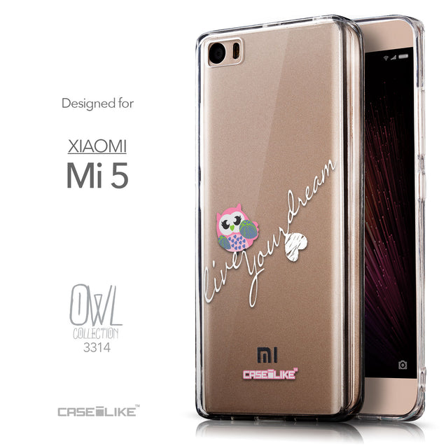 Front & Side View - CASEiLIKE Xiaomi Mi 5 back cover Owl Graphic Design 3314