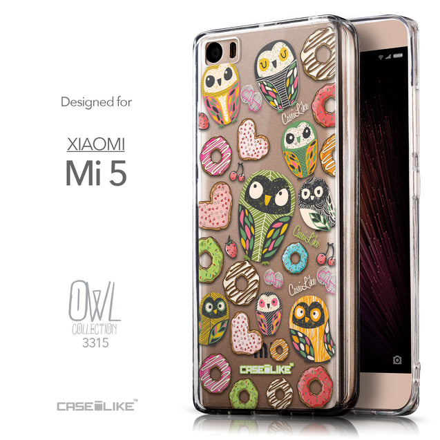 Front & Side View - CASEiLIKE Xiaomi Mi 5 back cover Owl Graphic Design 3315