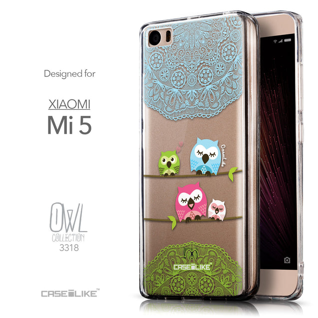 Front & Side View - CASEiLIKE Xiaomi Mi 5 back cover Owl Graphic Design 3318