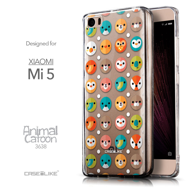 Front & Side View - CASEiLIKE Xiaomi Mi 5 back cover Animal Cartoon 3638
