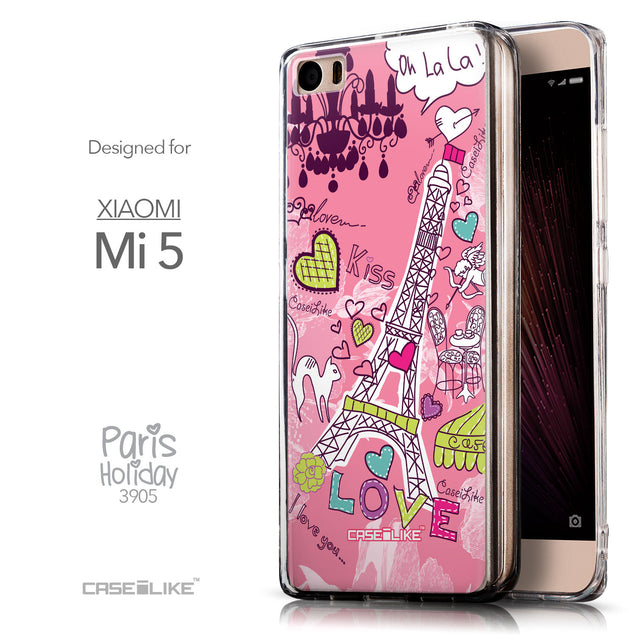 Front & Side View - CASEiLIKE Xiaomi Mi 5 back cover Paris Holiday 3905