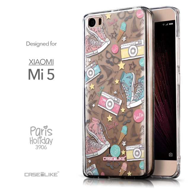 Front & Side View - CASEiLIKE Xiaomi Mi 5 back cover Paris Holiday 3906