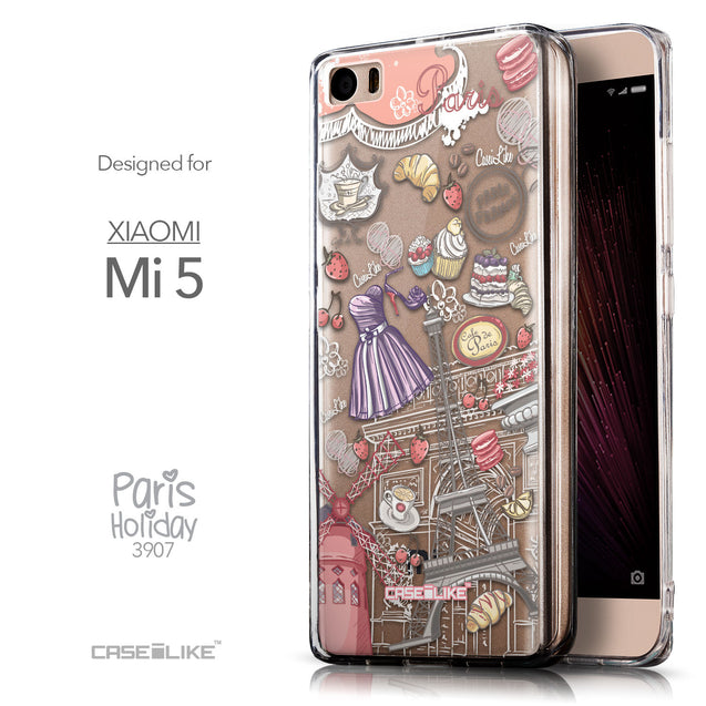 Front & Side View - CASEiLIKE Xiaomi Mi 5 back cover Paris Holiday 3907