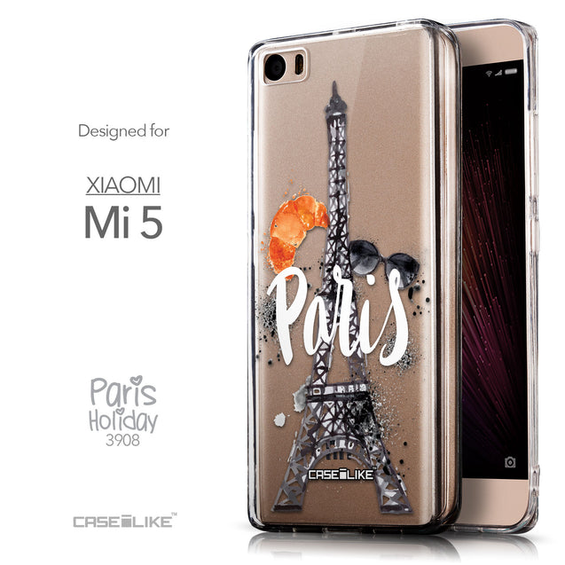 Front & Side View - CASEiLIKE Xiaomi Mi 5 back cover Paris Holiday 3908
