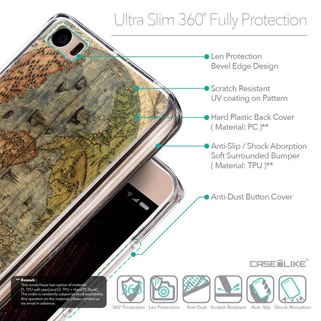 Details in English - CASEiLIKE Xiaomi Mi 5 back cover World Map Vintage 4608