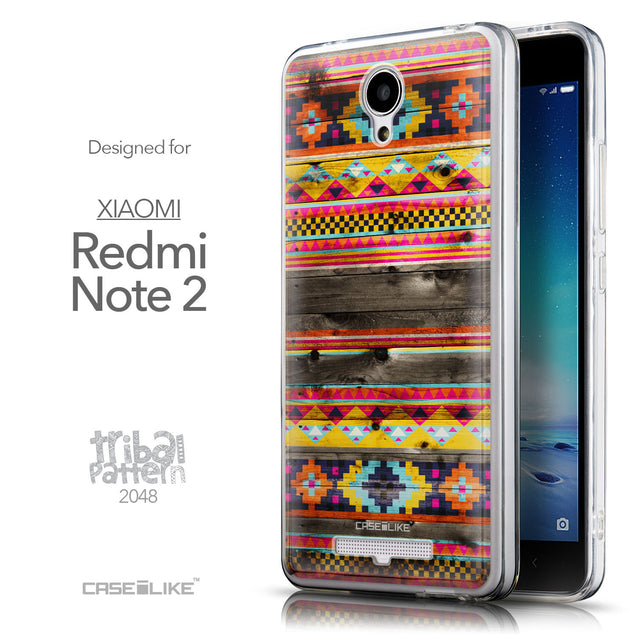 Front & Side View - CASEiLIKE Xiaomi Redmi Note 2 back cover Indian Tribal Theme Pattern 2048
