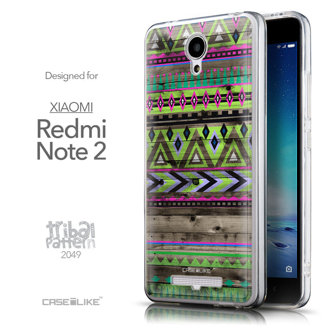 Front & Side View - CASEiLIKE Xiaomi Redmi Note 2 back cover Indian Tribal Theme Pattern 2049