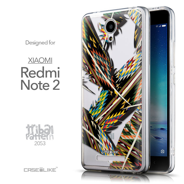 Front & Side View - CASEiLIKE Xiaomi Redmi Note 2 back cover Indian Tribal Theme Pattern 2053