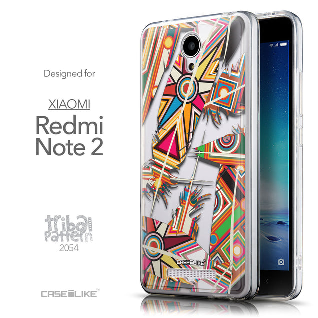 Front & Side View - CASEiLIKE Xiaomi Redmi Note 2 back cover Indian Tribal Theme Pattern 2054