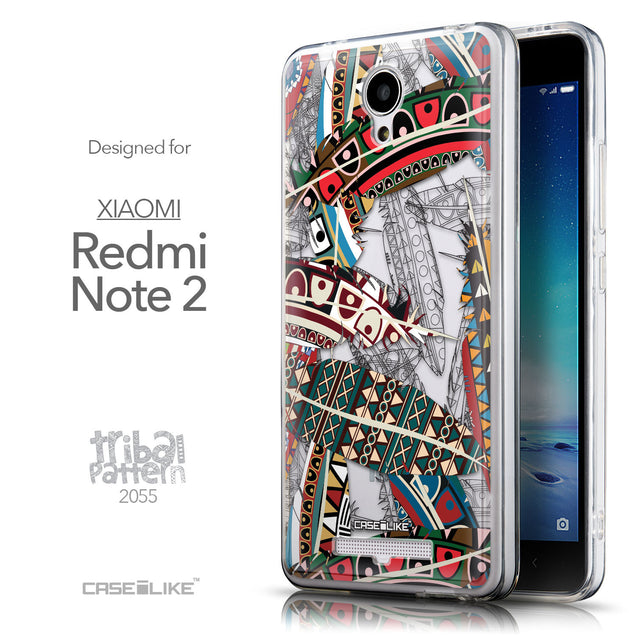Front & Side View - CASEiLIKE Xiaomi Redmi Note 2 back cover Indian Tribal Theme Pattern 2055