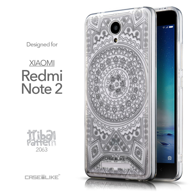 Front & Side View - CASEiLIKE Xiaomi Redmi Note 2 back cover Indian Line Art 2063