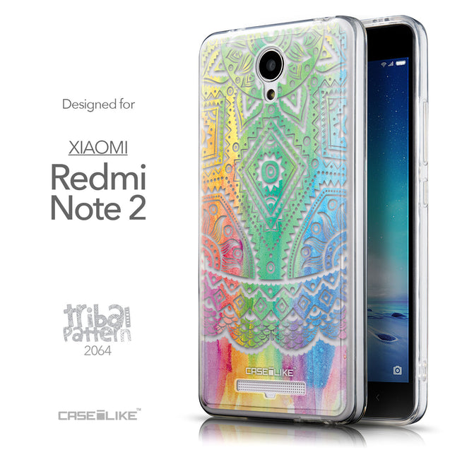 Front & Side View - CASEiLIKE Xiaomi Redmi Note 2 back cover Indian Line Art 2064