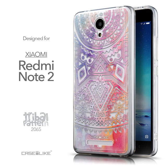 Front & Side View - CASEiLIKE Xiaomi Redmi Note 2 back cover Indian Line Art 2065