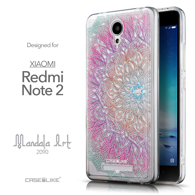 Front & Side View - CASEiLIKE Xiaomi Redmi Note 2 back cover Mandala Art 2090
