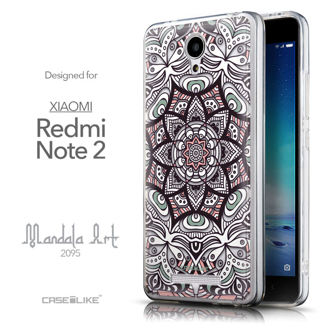 Front & Side View - CASEiLIKE Xiaomi Redmi Note 2 back cover Mandala Art 2095