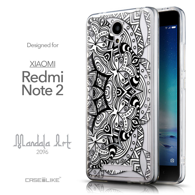 Front & Side View - CASEiLIKE Xiaomi Redmi Note 2 back cover Mandala Art 2096