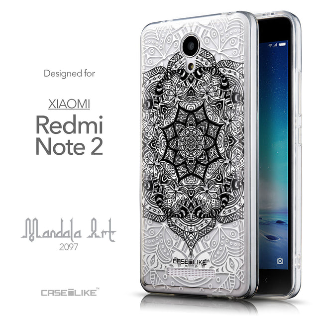 Front & Side View - CASEiLIKE Xiaomi Redmi Note 2 back cover Mandala Art 2097