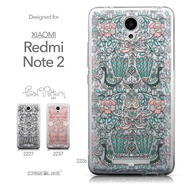 Collection - CASEiLIKE Xiaomi Redmi Note 2 back cover Roses Ornamental Skulls Peacocks 2226