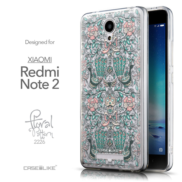 Front & Side View - CASEiLIKE Xiaomi Redmi Note 2 back cover Roses Ornamental Skulls Peacocks 2226