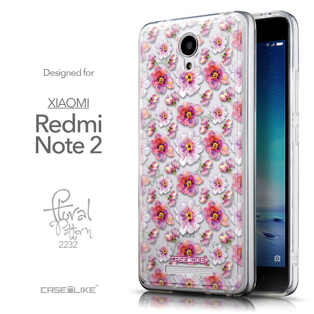 Front & Side View - CASEiLIKE Xiaomi Redmi Note 2 back cover Watercolor Floral 2232