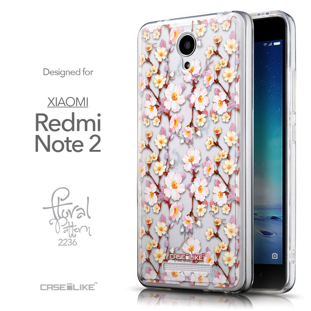 Front & Side View - CASEiLIKE Xiaomi Redmi Note 2 back cover Watercolor Floral 2236