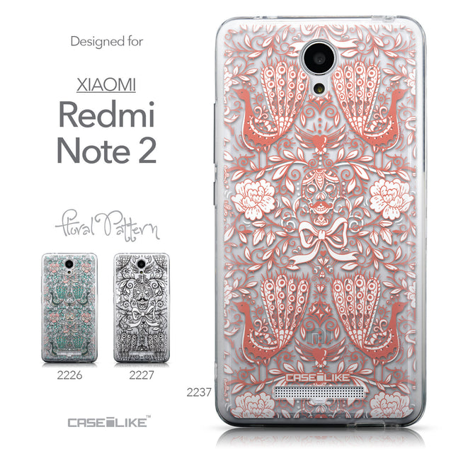 Collection - CASEiLIKE Xiaomi Redmi Note 2 back cover Roses Ornamental Skulls Peacocks 2237