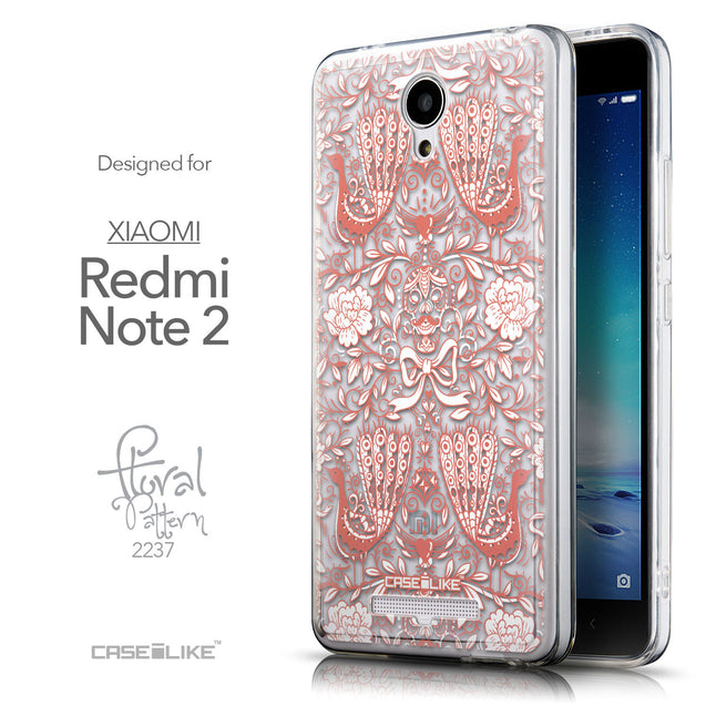 Front & Side View - CASEiLIKE Xiaomi Redmi Note 2 back cover Roses Ornamental Skulls Peacocks 2237