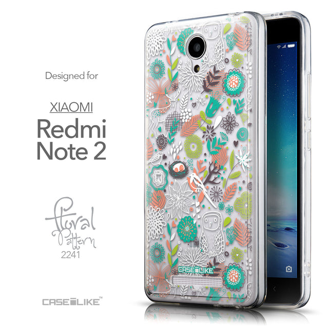Front & Side View - CASEiLIKE Xiaomi Redmi Note 2 back cover Spring Forest White 2241