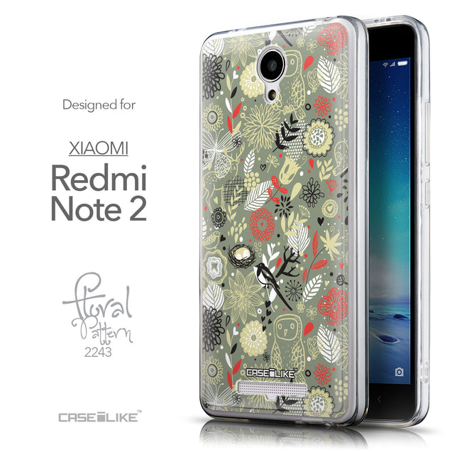Front & Side View - CASEiLIKE Xiaomi Redmi Note 2 back cover Spring Forest Gray 2243