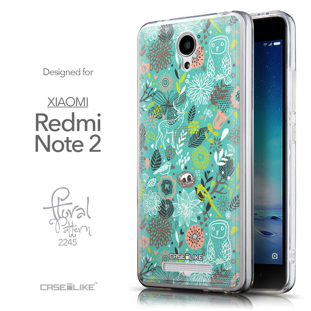 Front & Side View - CASEiLIKE Xiaomi Redmi Note 2 back cover Spring Forest Turquoise 2245
