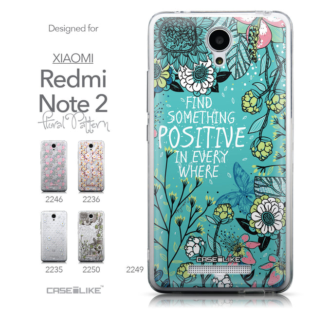 Collection - CASEiLIKE Xiaomi Redmi Note 2 back cover Blooming Flowers Turquoise 2249