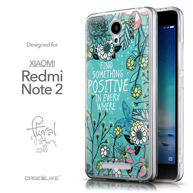Front & Side View - CASEiLIKE Xiaomi Redmi Note 2 back cover Blooming Flowers Turquoise 2249