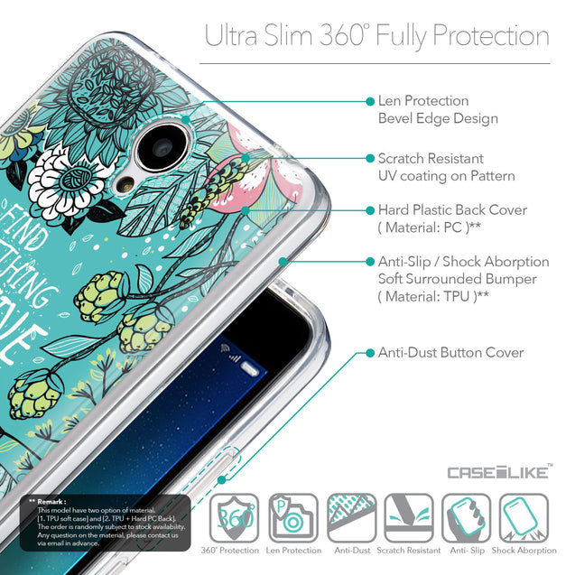 Details in English - CASEiLIKE Xiaomi Redmi Note 2 back cover Blooming Flowers Turquoise 2249
