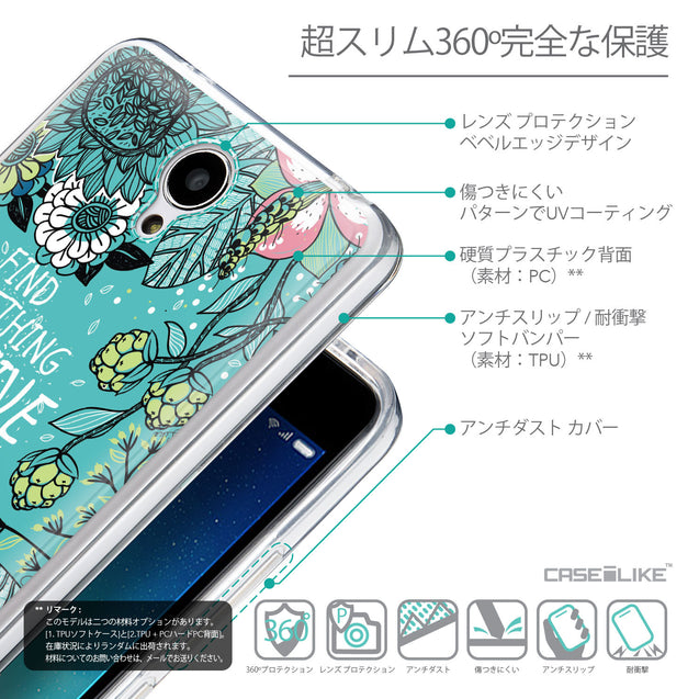 Details in Japanese - CASEiLIKE Xiaomi Redmi Note 2 back cover Blooming Flowers Turquoise 2249